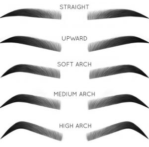 Ombre Brow types, straight upward soft medium and high arch