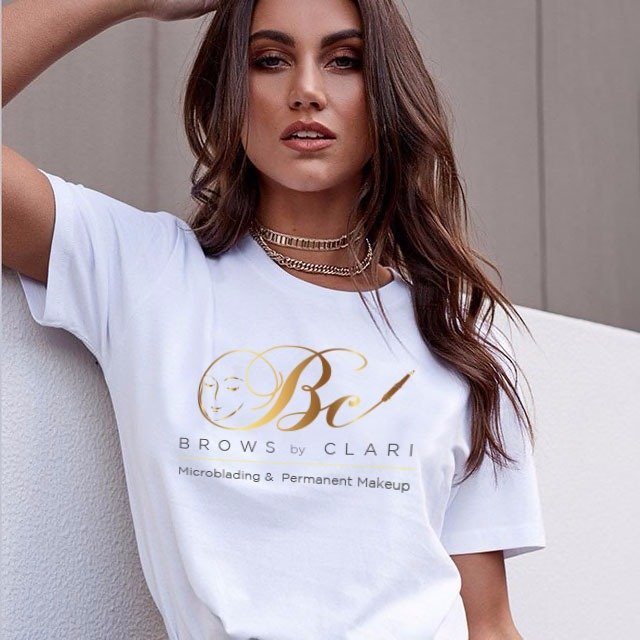 Girl with permanent makeup wearing a Brows by Clari TSHIRT
